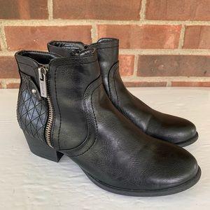 Unisa Patsie double zipper black ankle boots